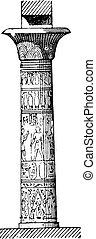 Tent flared column, vintage engraving.