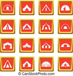 Tent forms icons set red