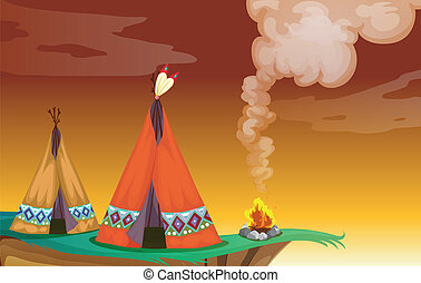 illustration of a tent house and a fire in nature