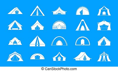 Tent icon blue set - Tent icon set. Simple set of tent icons...