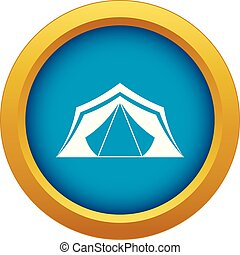 Tent icon blue vector isolated