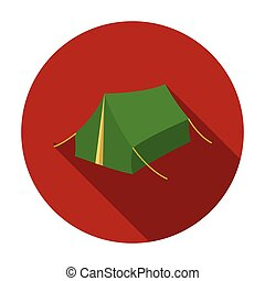Tent icon in flat style isolated on white background. Hunting symbol stock vector illustration.