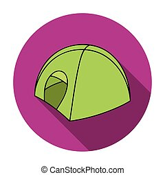 Tent icon in flat style isolated on white background. Ski resort symbol stock vector illustration.