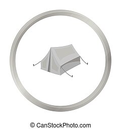 Tent icon in monochrome style isolated on white background. Hunting symbol stock vector illustration.