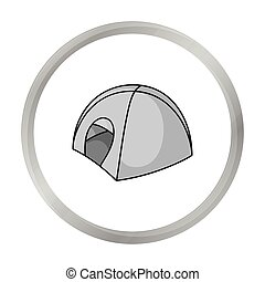 Tent icon in monochrome style isolated on white background. Ski resort symbol stock vector illustration.