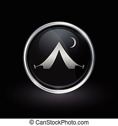 Tent icon inside round silver and black emblem