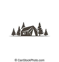 tent icon isolated on white background. Solid adventure symbol. Monochrome design. Use for logo creation. Stock vector illustration isolated on white