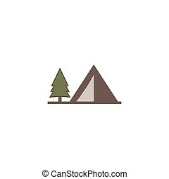 tent icon isolated on white background. Solid adventure symbol. Monochrome design. Use for logo creation. Stock vector illustration. Flat