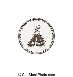 tent icon, patch and sticker. Vintage hand drawn outdoor adventure design. Camping icon. Stock vector isolated on white background