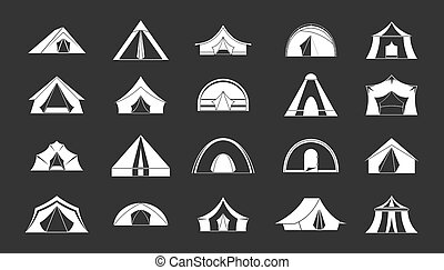 Tent icon set grey - Tent icon set white isolated on grey...