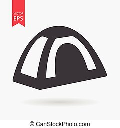Tent icon. Tourist tent sign isolated on white background. Flat design style. Vector illustration.