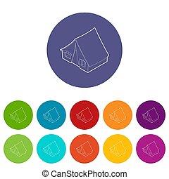 Tent icons set color