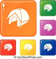 Tent icons set vector color