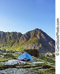 Tent in a lofoten camping site