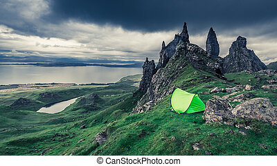 Tent in Old Man of Storr, Scotland, United Kingdom