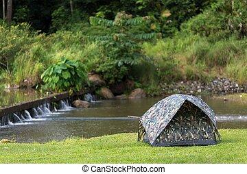 Tent in wild nature