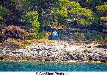 Camping by the sea in croatia, near betina, island of murter