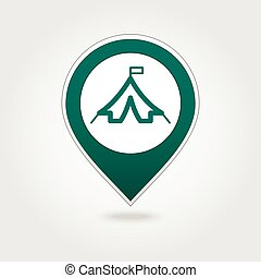Tent map pin icon