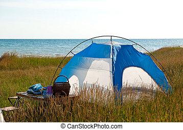 Tent near sea