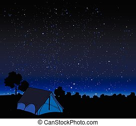 tent on a background of night sky