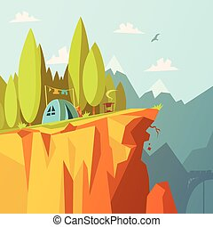 Tent On A Cliff Illustration