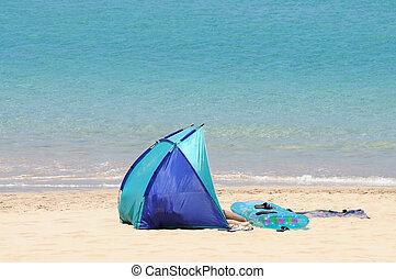 Tent on the beach. Canary Island Fuerteventura, Spain