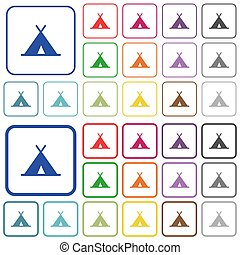 Tent outlined flat color icons