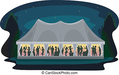 Tent Party Wedding Reception - Illustration of a Wedding...