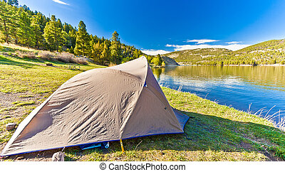 Tent Set Up on a beautiful day at Hauser Lake Montana