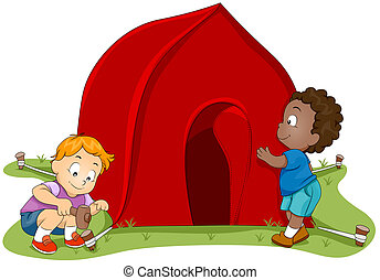 Tent Setup - Illustration of Kids Setting Up a Tent