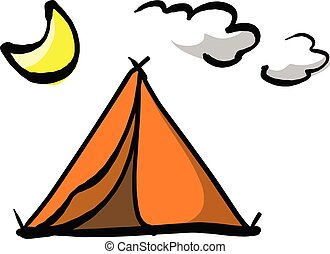 Tent under a night sky with moon vector illustration sketch hand drawn with black lines isolated on white background