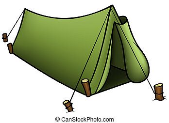 Tent - Colored Cartoon Illustration, Vector