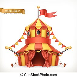 tent., wektor, cyrk, 3d, ikona