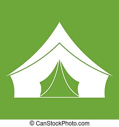 Tent with a triangular roof icon green