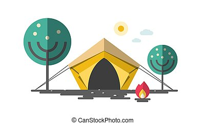 Tent with Fire and Trees. Camping Vector Flat Design Illustration.