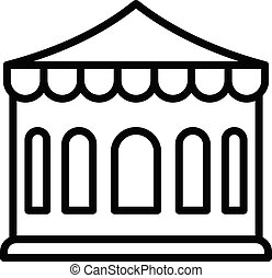 Tent with large windows icon, outline style