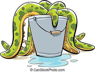 Tentacle Bucket - Cartoon tentacles spilling out of a metal...