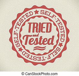 tentado, selo, próprio, testado, vetorial, retro
