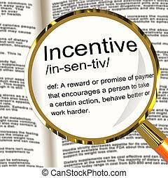 tentador, motivación, definición, incentivo, ánimo, lupa, ...