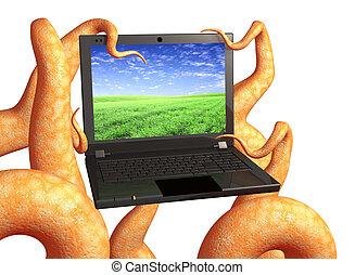 tentakler, av, a, monster, holdingen, a, laptop