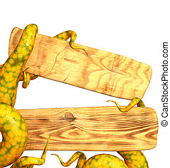 tentakler, av, a, monster, holdingen, a, trä planka