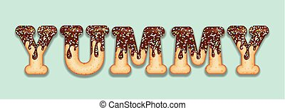 "tentando, donut, palavra, letras, typography., chocolate, glazed, candy., text., icing, ""yummy"""