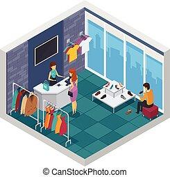 tentando, loja, isometric, composição