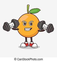 tentando, mascote, personagem, exercício, mangosteen, caricatura, barbells, africano, condicão física