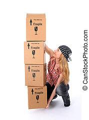 tentando, scatole, ascensore, ragazza, cartone, pila