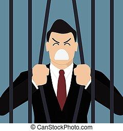 tentar, homem negócios, fuga, prisão