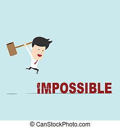 tentare, uso, parola, interruzione affari, impossibile, martello, uomo