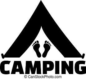 tente, à, pieds, et, mot, camping