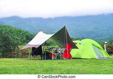 tente, camping, herbe