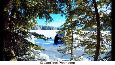 tente, couple, neigeux, paysage, préparer, 4k